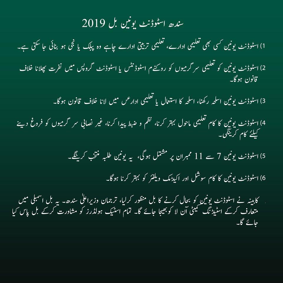 سندھ حکومت کے بل کے اہم نکات