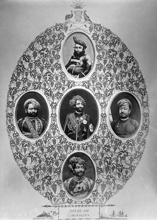 اوپر: ریاست جونا گڑھ کے مہابت خان (1882-1851)، درمیان: بہادر خان (1892-1882)، نیچے: رسول خان (1911-1892)، بائیں: نامعلوم، دائیں: بہاؤالدین ۔ جونا گڑھ کے ایک وزیر (تصویر وکی پیڈیا)